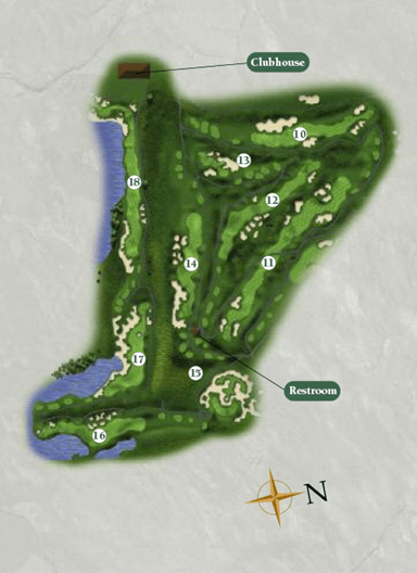 Overview of the back nine for the Port Course at Harborside International Golf Center